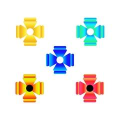 Color cross decoration sign. Colorful symbol for distinction, medal, decorati, dress. Design element. Vector illustration