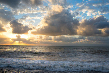 The beautiful sea with clouds on a sunset