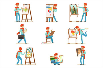 Happy smiling artist painting on canvas set. Talented painter colorful character vector illustrations Wall mural