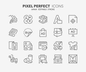 printing thin line icons