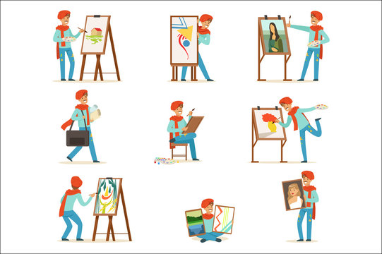 Happy smiling artist painting on canvas set. Talented painter colorful character vector illustrations