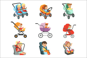 Baby carriage set. Different types of children transport colorful Illustrations