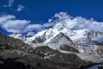 View of Himalayas mountains during Everest Base Camp in Nepal.