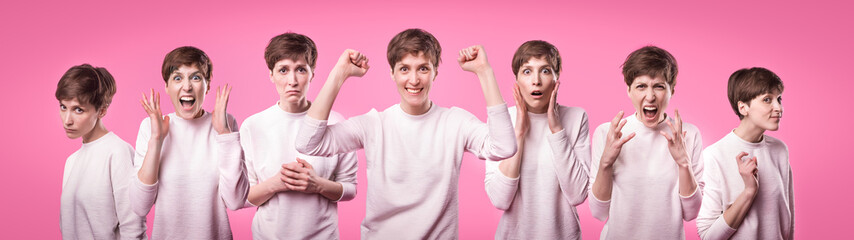 Collage with different emotions in one beautiful young woman dressed in white sweater. Attractive female expresses surprise, fear and joy over pink background. Facial expressions