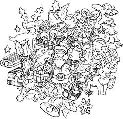 Kerst kleurplaat doodle illustratie met kerstman rendier en kerstballen kerstklokken en andere kerst symbolen