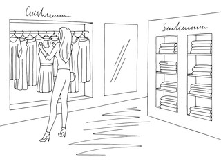 Shop interior graphic black white sketch illustration vector. Woman choosing a dress