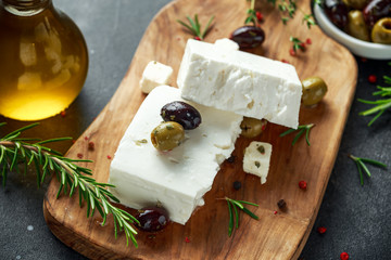 Greek cheese feta with thyme, rosemary and olives