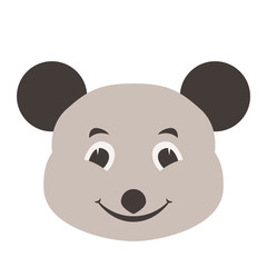 mouse  face cartoon   vector illustration flat style   front