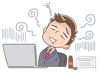 疲れているビジネスマンのイラスト