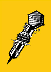 Music poster with microphone. Black and white lineart illustration. Rock and rap tattoo.