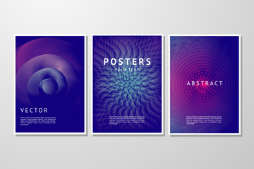 Abstract vector background set. Trendy geometric posters template. Cover with vibrant gradient.