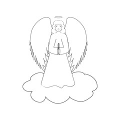 Angel on cloudy silhouette. Biblical personage. Religion symbol christmas season, holiday easter and love. Monochrome template for printed, banner, greeting card. Design element. Vector illustration.