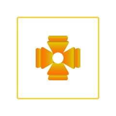 Cross decoration in square sign. Gold symbol for distinction, medal, decorati, dress. Design element. Vector illustration