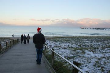 Island Ruegen, Santa Claus, Binz, Sunset, Winter, People