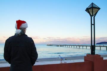 Santa Claus, Binz, Sunset, Winter, Seagull