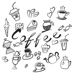 Set of coffee and tea icons handmade