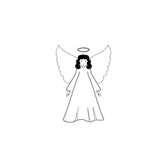 Angel silhouette. Biblical personage. Religion symbol christmas season, holiday easter and love. Monochrome template for printed, banner, greeting card. Design element. Vector illustration.