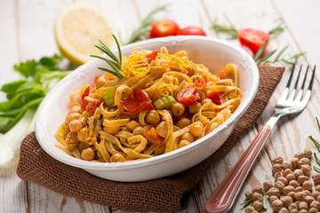 tagliatelle pasta with chickpeas and tomatoes