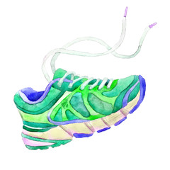 Green sneakers painted watercolor on a white background