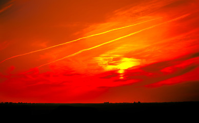Fotorolgordijn Rood Panoramic Surreal landscape bloody sky With horizon line