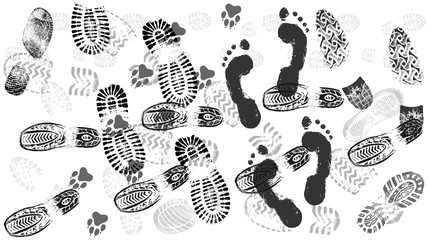 Footprint of shoes on the road, crowds of people, isolated silhouette vector. Trace sole imprint. Footstep, footwear Wall mural
