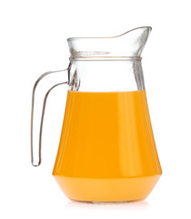 Orange juice in pitcher Isolated on a white background