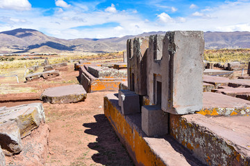 Elaborate carving in megalithic stone at Puma Punku, part of the Tiwanaku archaeological complex, a UNESCO world heritage site near La Paz, Bolivia.