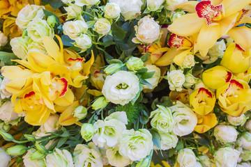 flowers decoration ready for wedding ceremony.