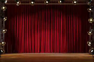 Red curtain or drapes background with lighting.
