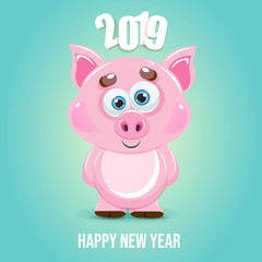 Cute cartoon vector pig icon. Happy New Year. Animal of the Year 2019.