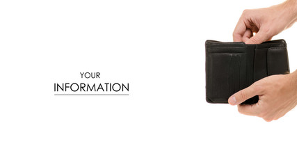 Male hand purse on white background isolation