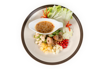 Nam Nuong; Grilled pork balls with condiments and Peanut Sauce from top view on white background; Flat lay Photo with clipping path