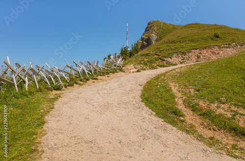 summit of mt rigi in switzerland in summer stock photo and royalty