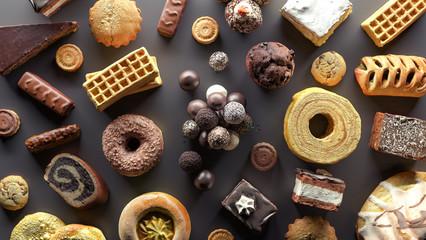 Selection of food high in sugar 3d render 3d illustration