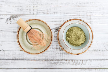 Matcha green tea in powder