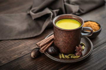 Traditional Indian drink turmeric milk