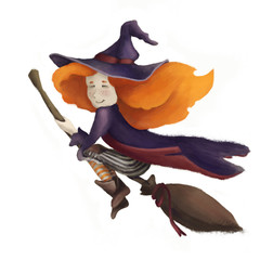 A little cute witch on a broomstick. A girl with red hair and a hat. isolated on a fringe background