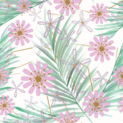 Seamless tropical pattern, pink flowers, palm leaves on white background.