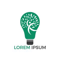Bulb lamp and people tree logo design. Human health and care logo design. Nature idea innovation symbol.