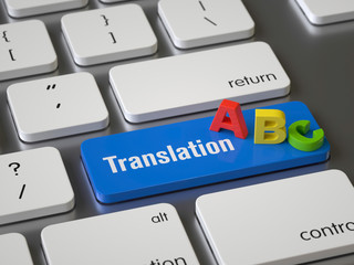 Translation key on the keyboard, 3d rendering,conceptual image