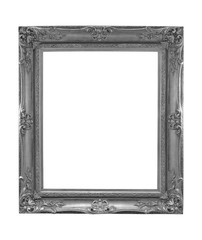 The antique gray frame on the white background with clipping part