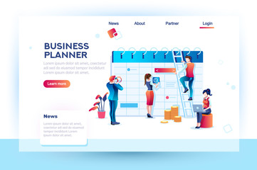 Time management. Hours planning and saving. Infographic, desktop control of calendar job. Target project schedule on desk concept with character and text. Flat isometric images, vector illustration.