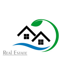 Real estate logo, healthy house vector icons.