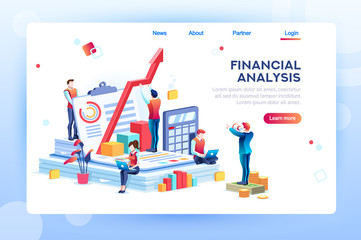 Balance financial value, management and administration concept. Characters, people engineering a plan. Statistic, calculating financial risk graph. Flat Isometric characters vector illustration.