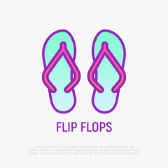 Flip flops thin line icon. Modern vector illustration of beach footwear.