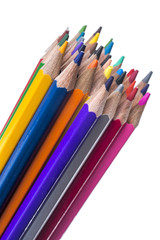 colored pencils from a set for drawing isolated on a white background