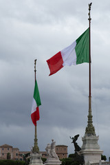 Italian Flags at the Altar of the Fatherland Rome