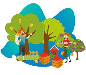 Young gardeners gathering harvest flat poster