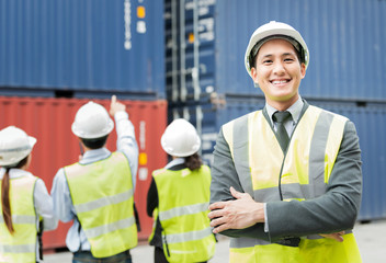 Portrait of smiling male manager in the Warehouse shipping transportation concept.