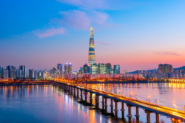 Aluminium Prints Seoul twilight sky at han river seoul korea
